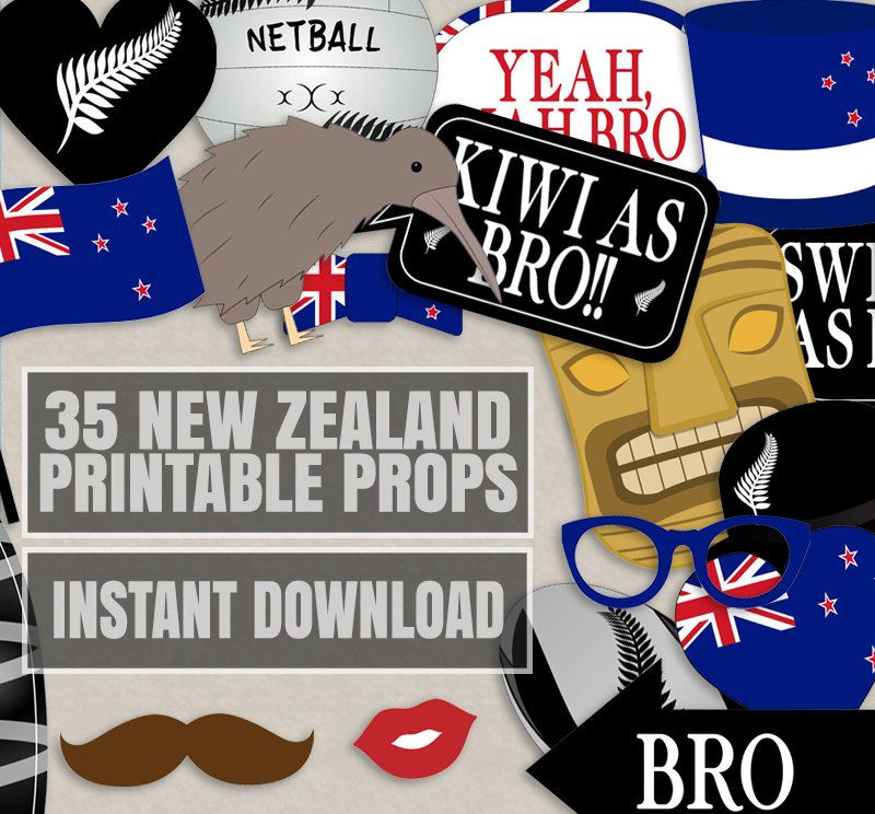 35 New Zealand Photo Booth Props, Kiwi themed party props