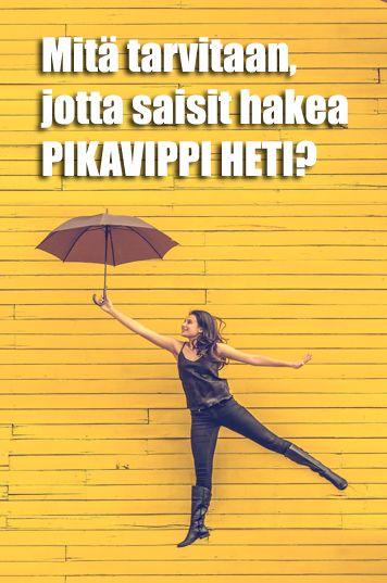 Mitä tarvitaan, jotta saisit hakea pikavippi heti? Sinun täytyy ilmoittaa voimassa oleva osoite ja sinun on oltava vähintään 18-vuotias Suomen kansalainen. Alaikäiselle lainan myöntäminen on kielle…