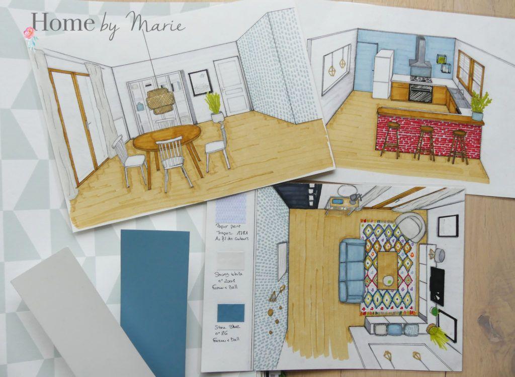 Projet décoration intérieure dune maison au style épuré et coloré