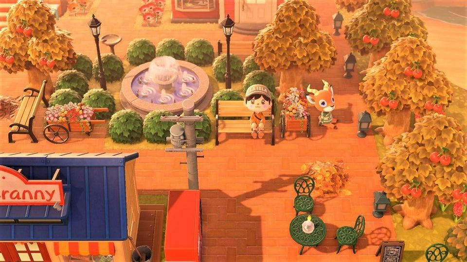 Https Www Reddit Com R Ac Newhorizons Comments G7jxly Autumn Town Square With Beau Life Is Good Animal Crossing New Animal Crossing Animal Crossing Game