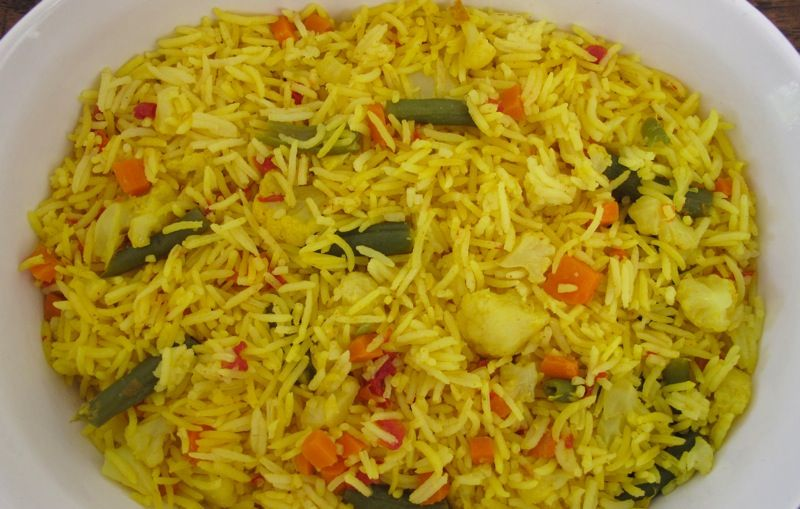 Indian spiced-mixed veggie rice.  Looks easy and real good!