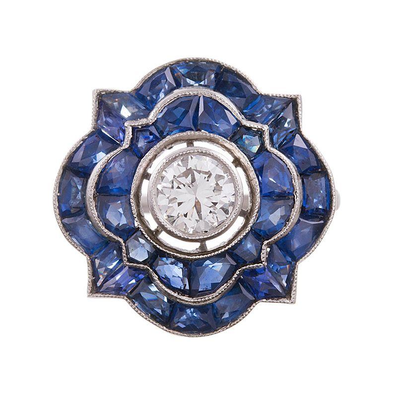 Art Deco Style Diamond & Sapphire Ring