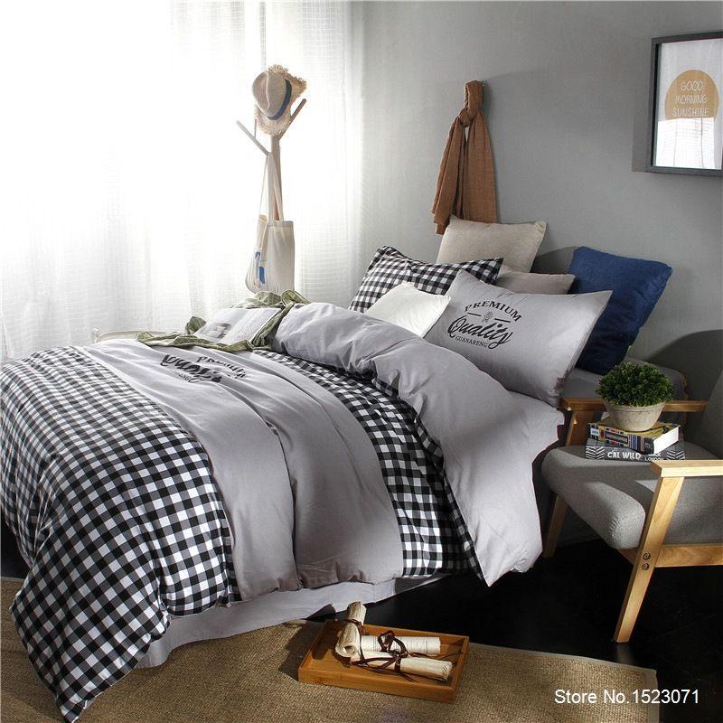 White and black striped plaid bedding sets simple fashion