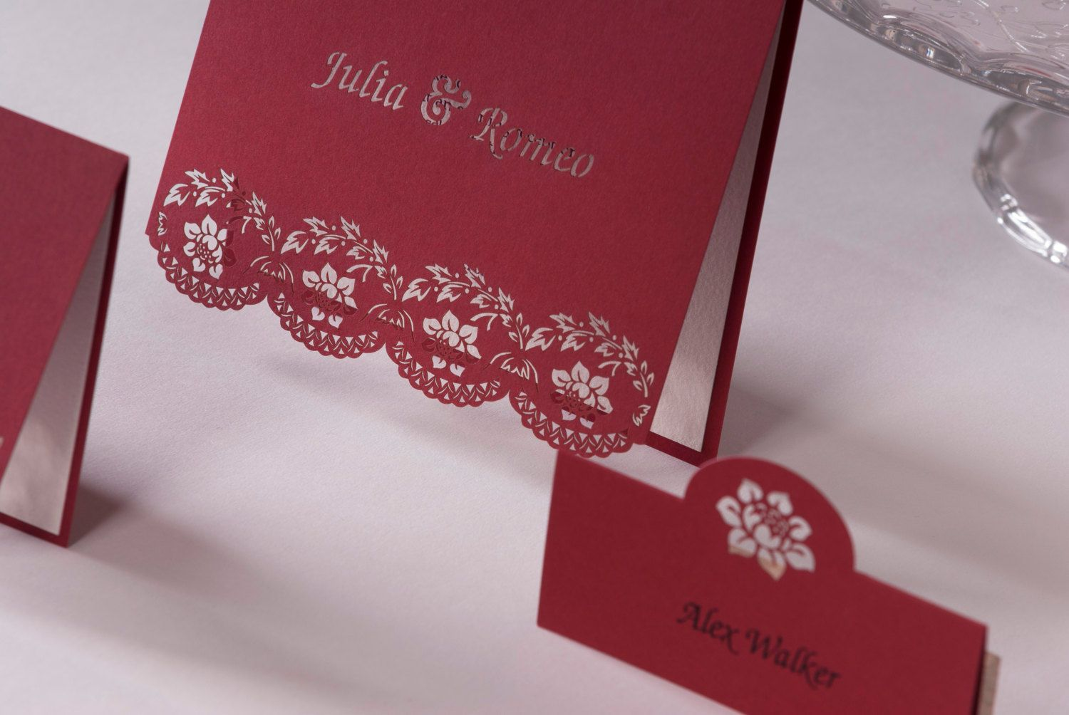 Laser Cut Handmade Personalised Red Roses Wedding Invitation With ...