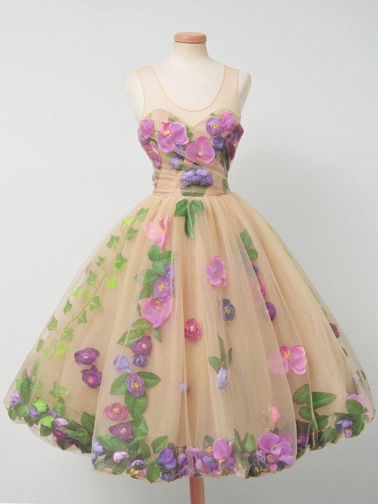 Beautiful homecoming dresses aline floral romantic short prom dress