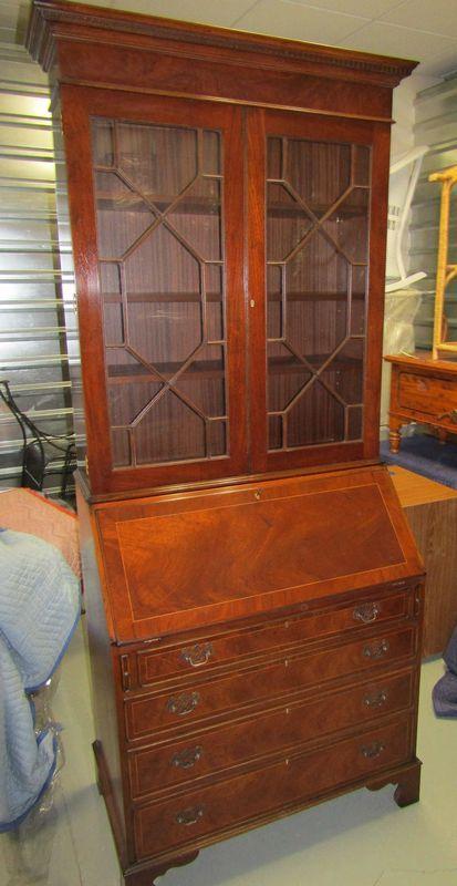 20th Century Two Piece Mahogany Secretary With Drop Front Desk