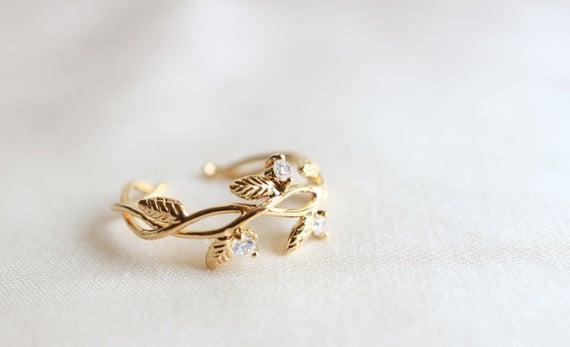 Woodland Jewelry Handmade Silver Leaf Ring Handmade Jewelry Fall Wedding Jewelry Nature Inspired Jewelry Greek Goddess Ring