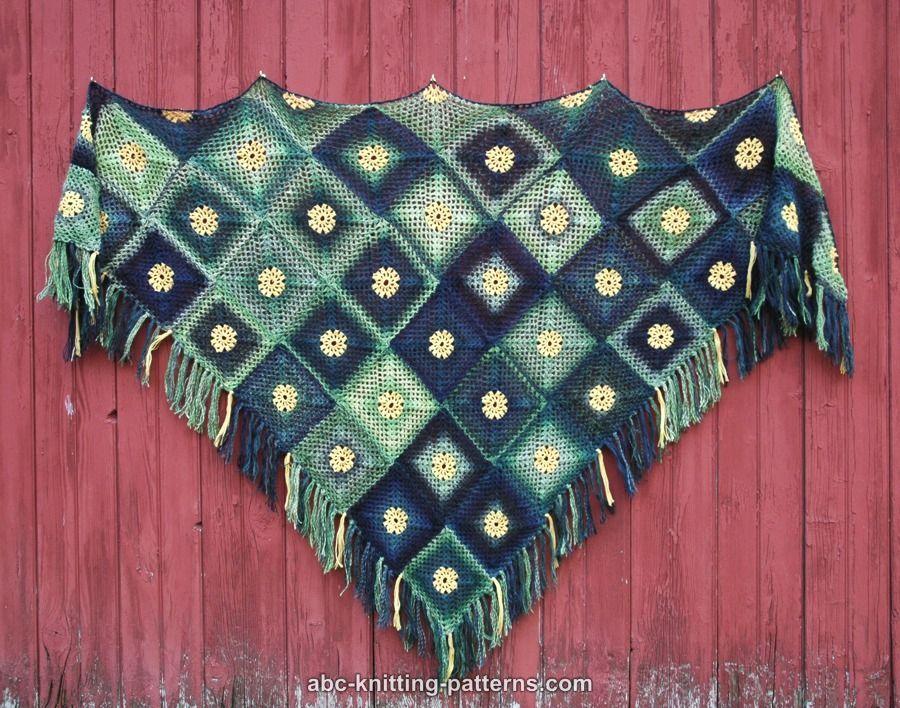 ABC Knitting Patterns - Summer Meadow Motif Shawl | Shawls | Pinterest