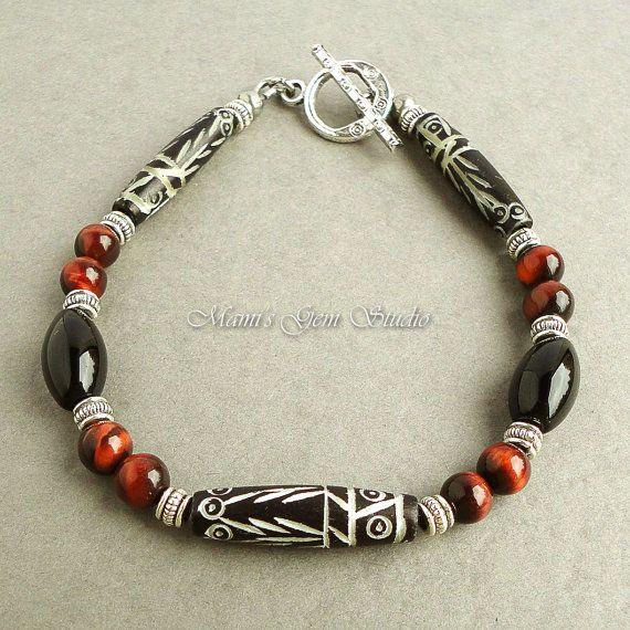 Mens Tribal Bracelet With Carved Bone Black Onyx By Mamisgemstudio 24 95