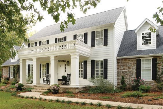 Remodelaholic Real Life Rooms Two Story Curb Appeal Colonial House Exteriors Colonial House Colonial Exterior