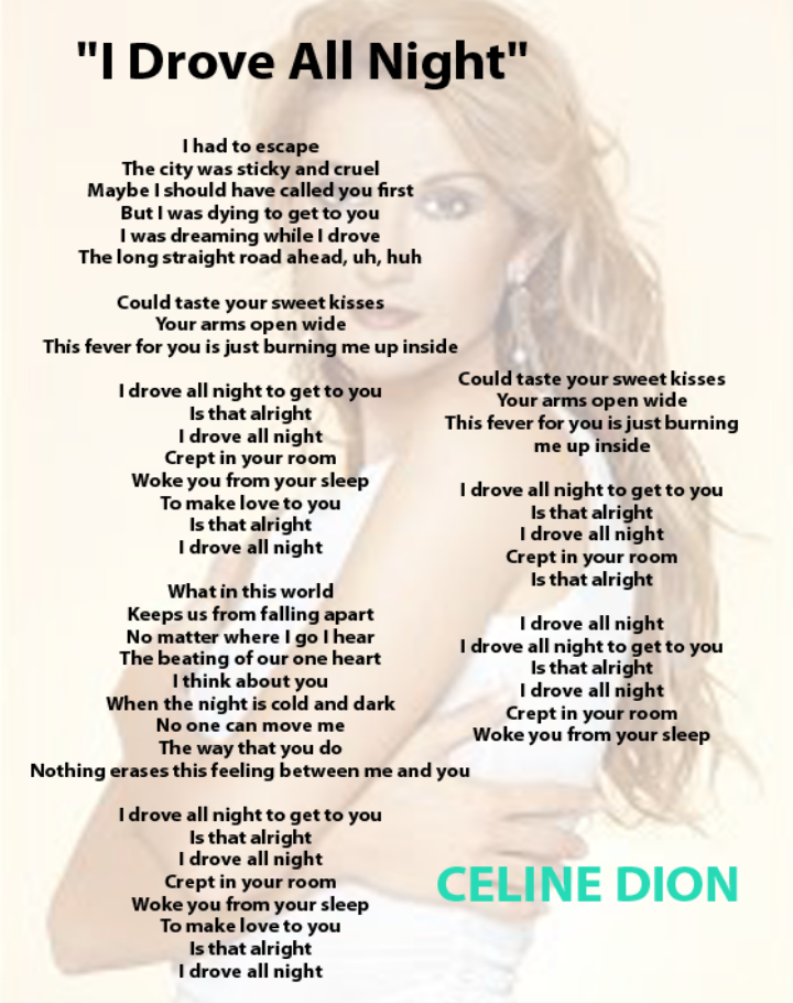 Celine Dion I Drove All Night Great Song Lyrics Drive All Night Celine Dion