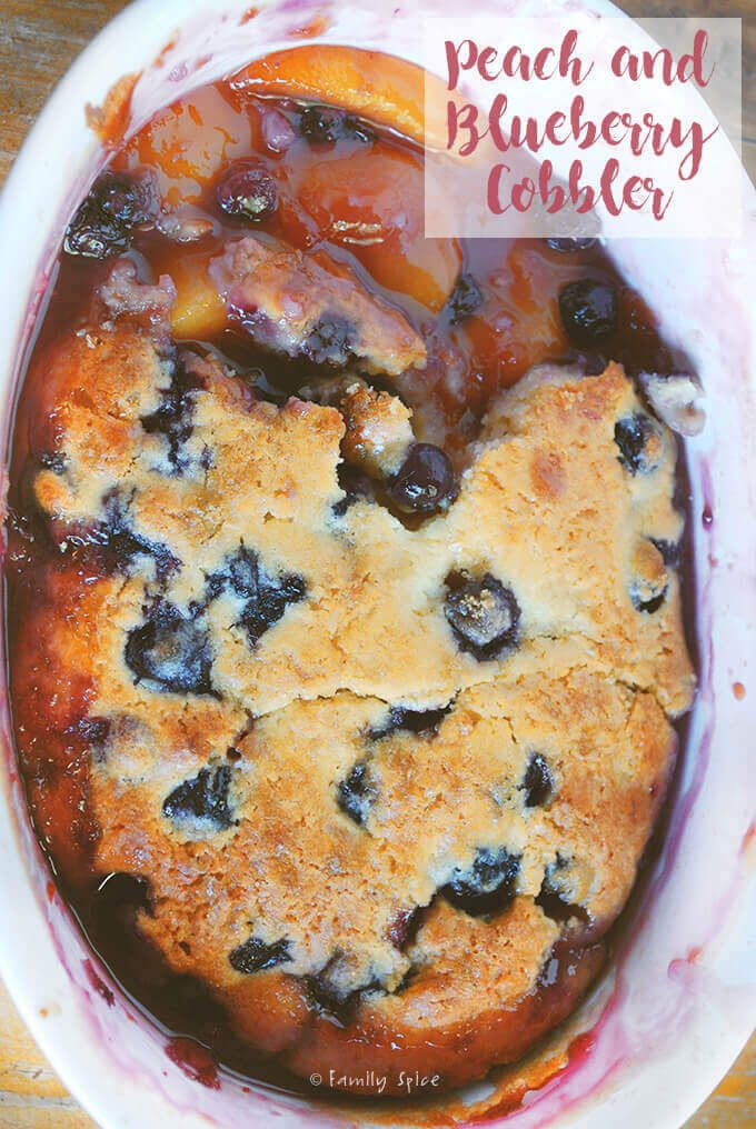 This Peach and Blueberry Cobbler pairs sweet summer peaches and plump blueberries with a lightly sweetened syrup topped with asweetbiscuit-like crust. -- FamilySpice.com #peachcobblercheesecake