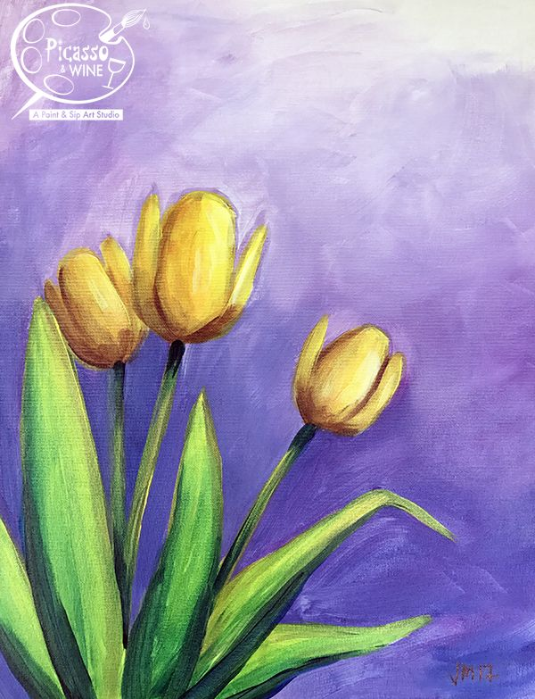 Yellow Tulips Acrylic Painting On Canvas Flowers