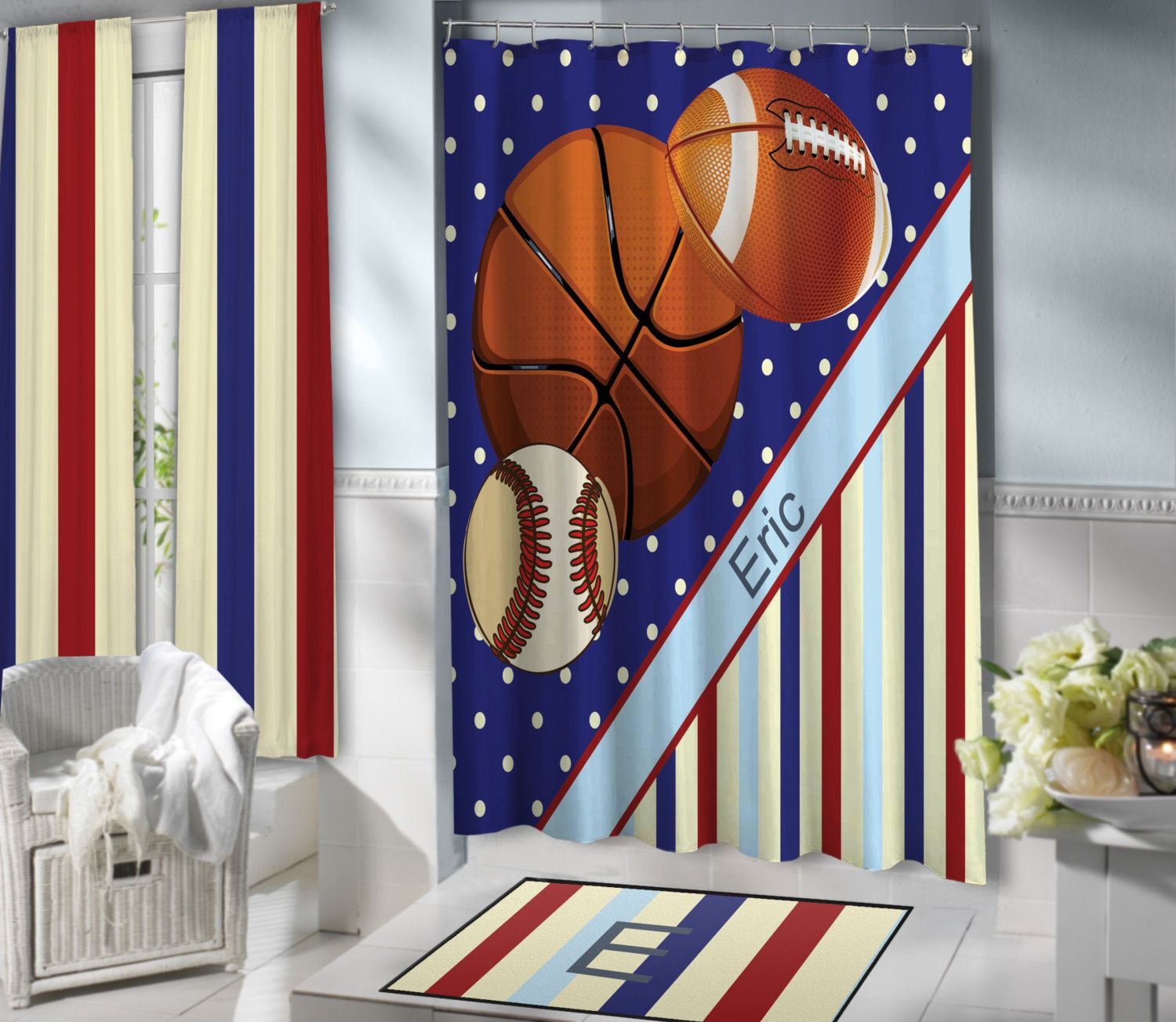 Sports Shower Curtains For Kids, Blue Baseball, Basketball U0026 Football Shower  Curtain, Polyester Fabric, Teen Boys Striped Curtain By EloquentInnovations  On ...