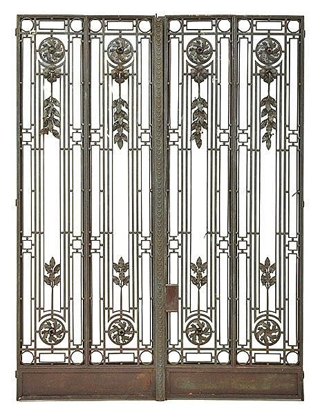A Large Pair Of French Art Deco Wrought Iron Gates Br