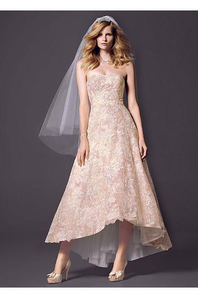 Oleg Cassini High Low Colored Lace Wedding Dress CWG617 | wedding ...