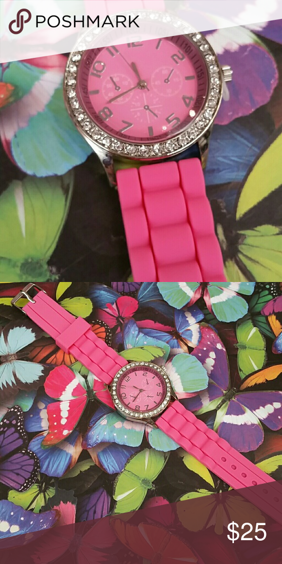 Selling this Fuschia Gel Watch in my Poshmark closet! My username is: petunias852. #shopmycloset #poshmark #fashion #shopping #style #forsale #Jewelry