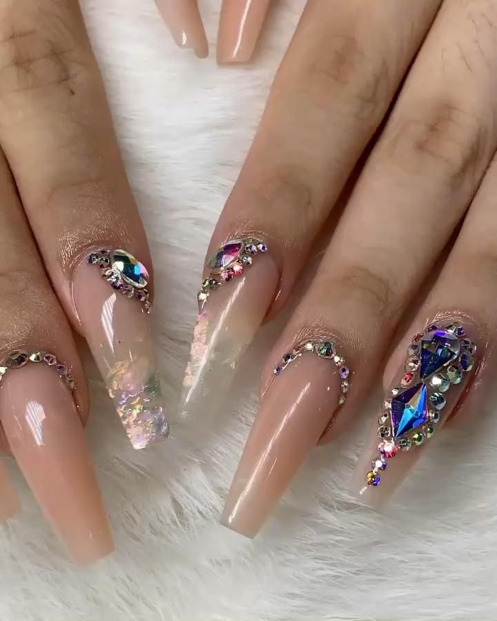 Nude Coffin Shape Acrylic Nails with Bling