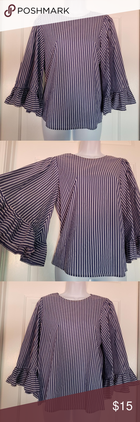 Paraphrase Striped Navy Bell Sleeve Crew Neck Top Blouse For Women Tops Custom Clothing
