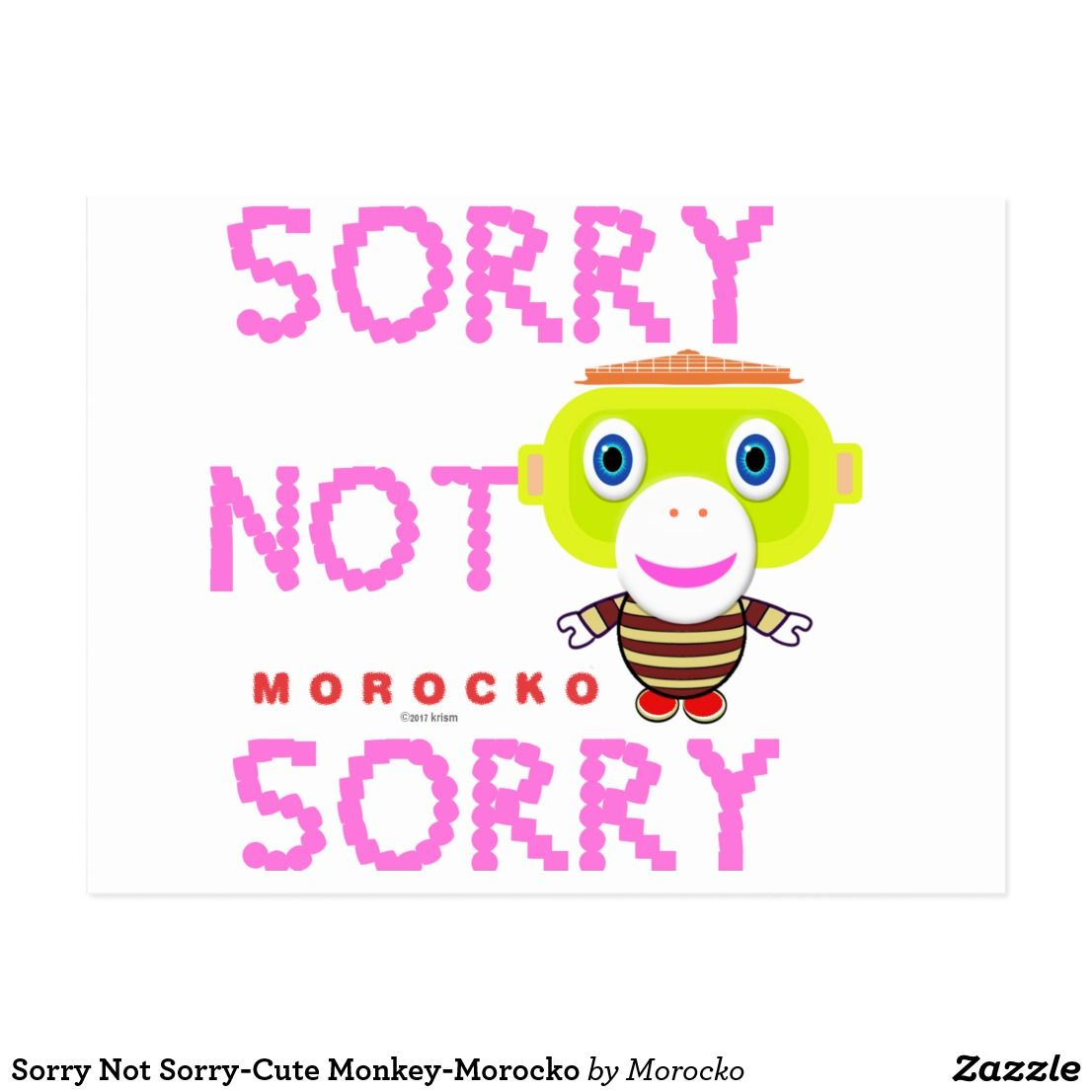 sorry not sorry-cute monkey-morocko postcard | the card collection