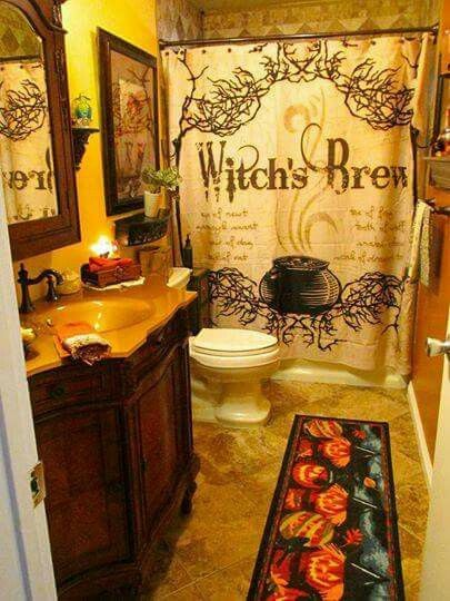 Witchy Pagan Bathroom Decor Shower Curtain Pumpkins Autumn