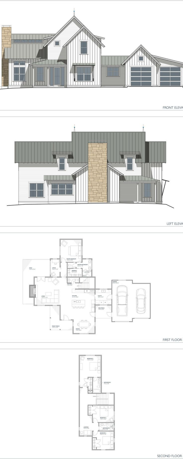The Normande Modern Farmhouse plan! 2 story home with 4