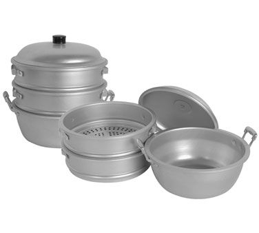 "Thunder Steamer Set 17"" dia. 3/8"" Perf. - ALST010  Steamer Set, 17"" dia. x 21-1/2"" H, 3/8"" perforations, includes: (2) steamers, (1) water p..."