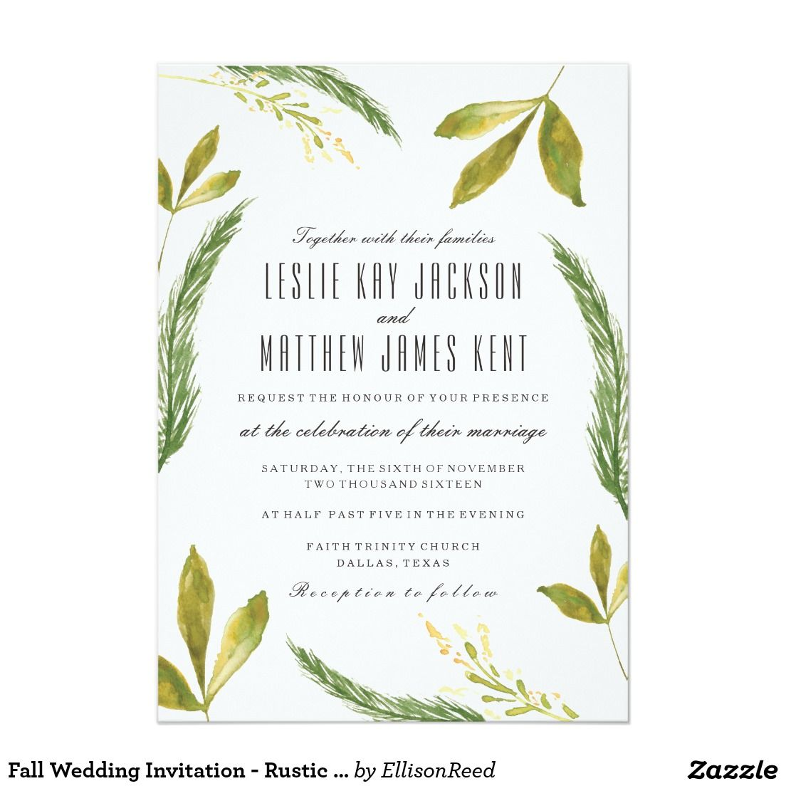 Fall Wedding Invitation - Rustic Harvest Greenery | Fall & Autumn ...