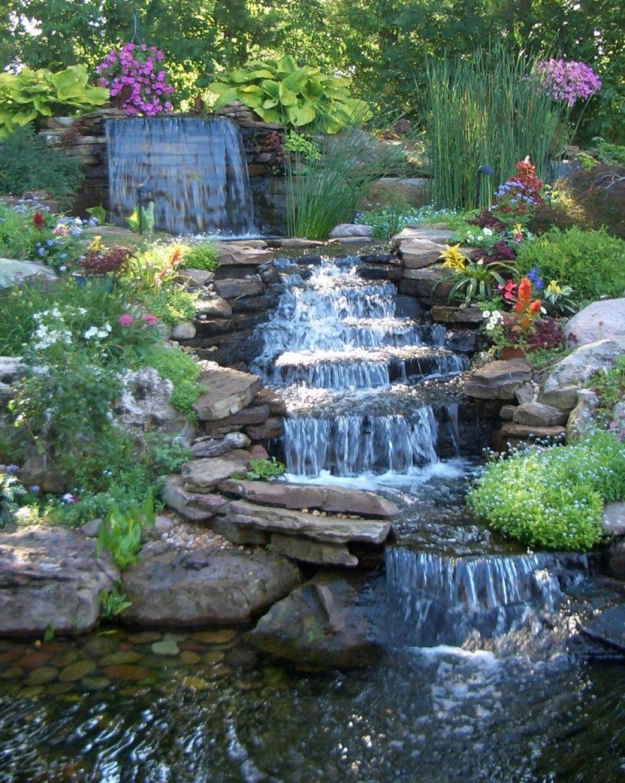 Fancy darkslategray backyard waterfalls pictures great for Modern pond waterfall