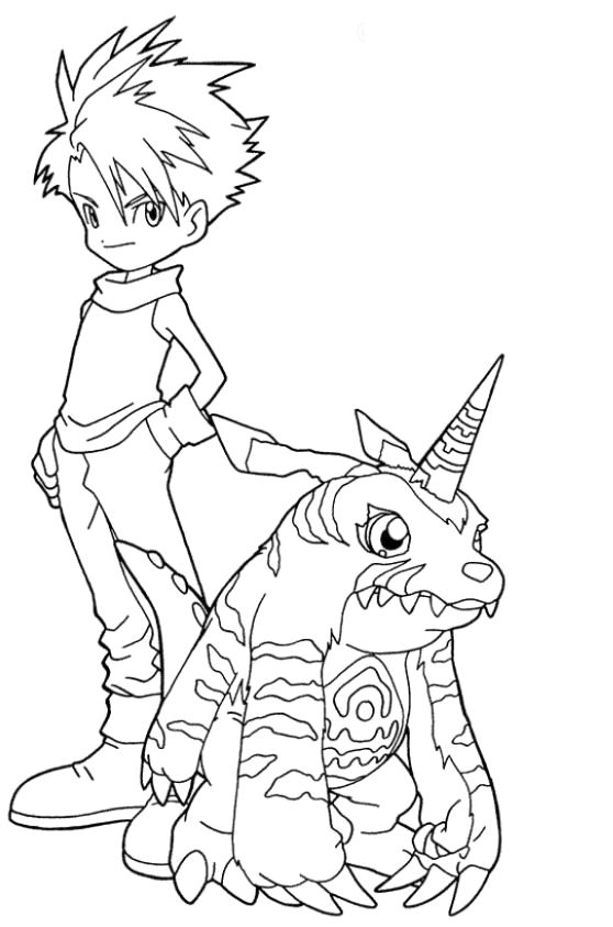 Gabumon And Matt Digimon Coloring Pages Digimon Cartoon Coloring