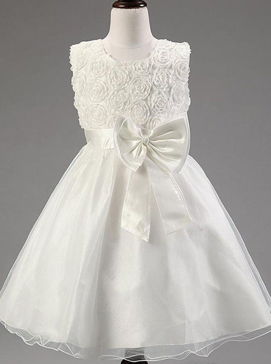 74bf5971cd5 White A Line Round Neck Sleeveless Tulle Flower Girl Dresses With ...