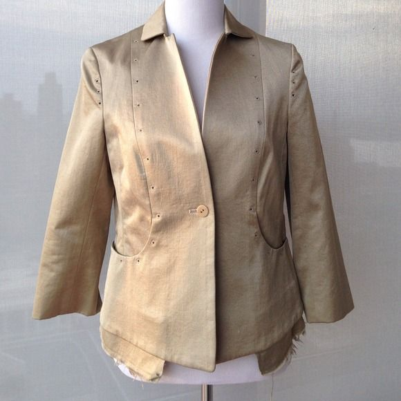 Metallic Gold Jacket Funky design and excellent detailing by Shelly Steffee. Pockets peep out below jacket. 50% cotton and 50 polyester. shelly steffee Jackets & Coats