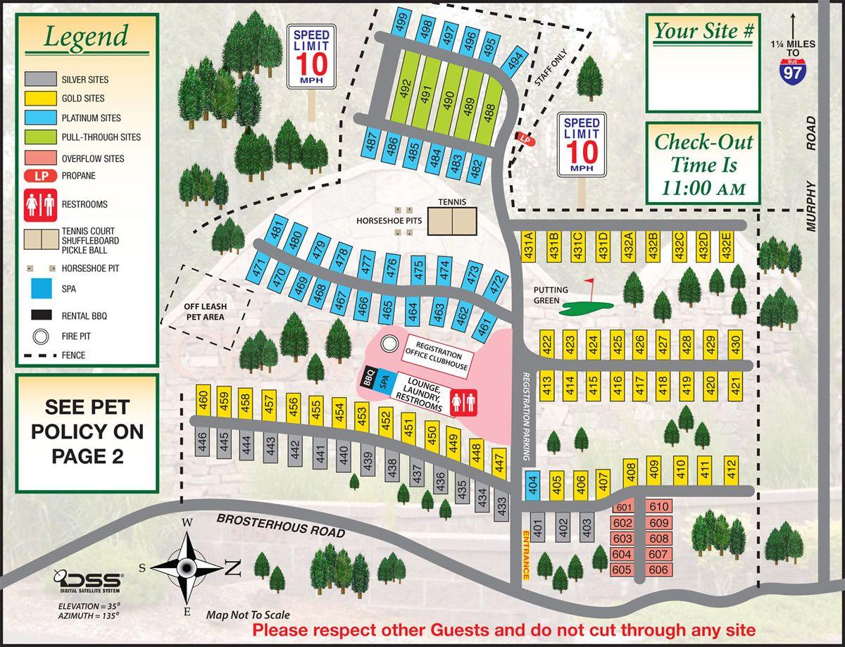 Resort Site Map Crown Villa Rv Resort Bend Oregon Site Site Map Resort