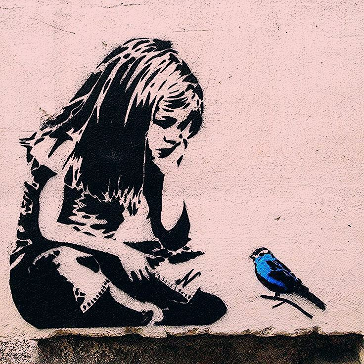Photo of Banksy Girl mit blauem Vogel – Graffiti Street Art – Foto auf Metall (Dibond) – Künstler