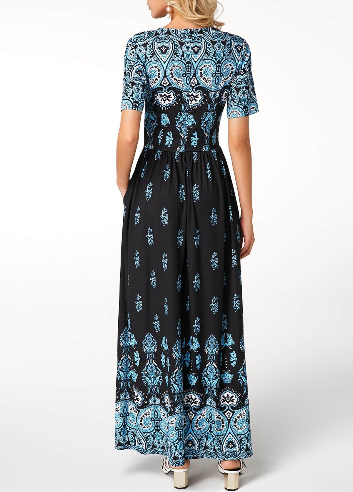 Printed short sleeve high waist maxi dress rosewe usd