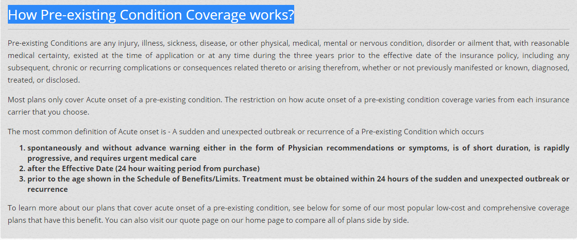 Pre Existing Conditions Are Any Injury Illness Sickness Disease
