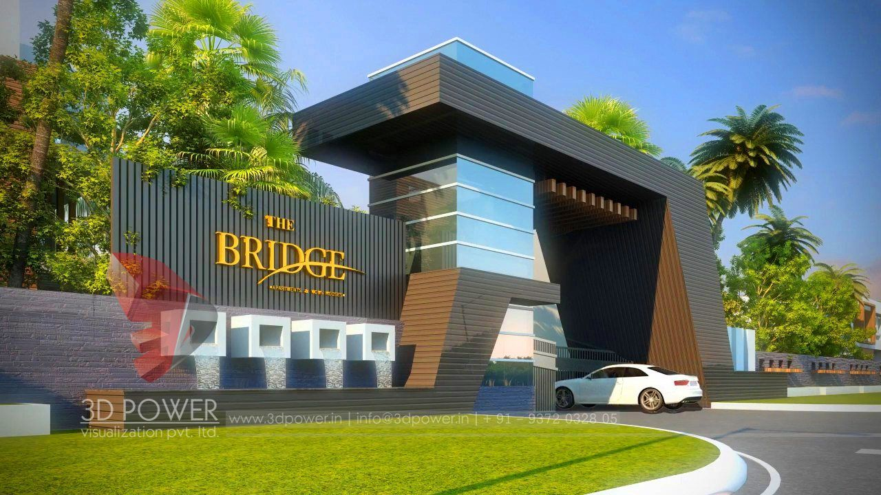 3d Architectural Rendering Of The Entrance Gate Of The Township Entrance Gates Design Entrance Design Entrance Gates