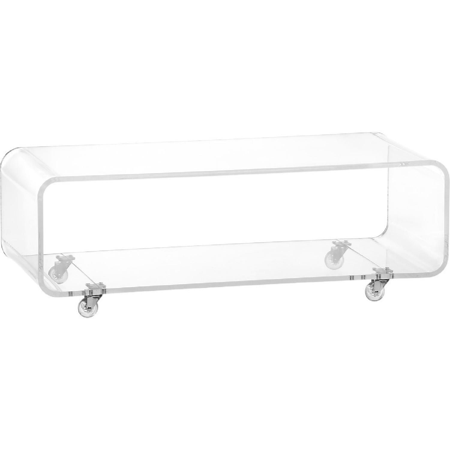 Acrylic Media Stand Coffee Table On Wheels Modern Media Console