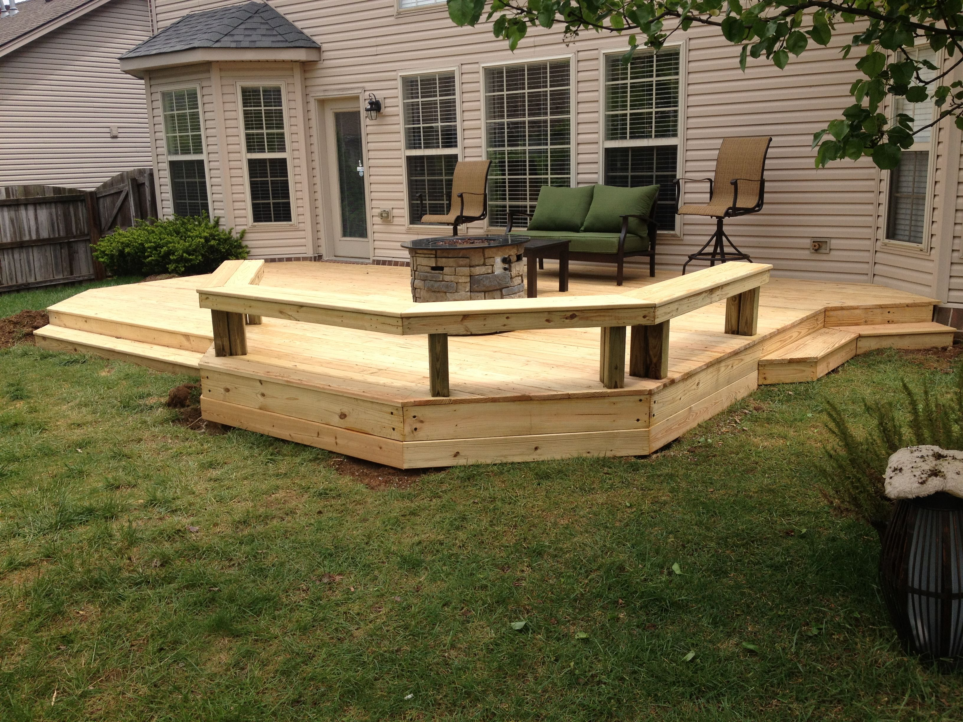 Nice low level deck finished last week wood decks for Low elevation deck plans