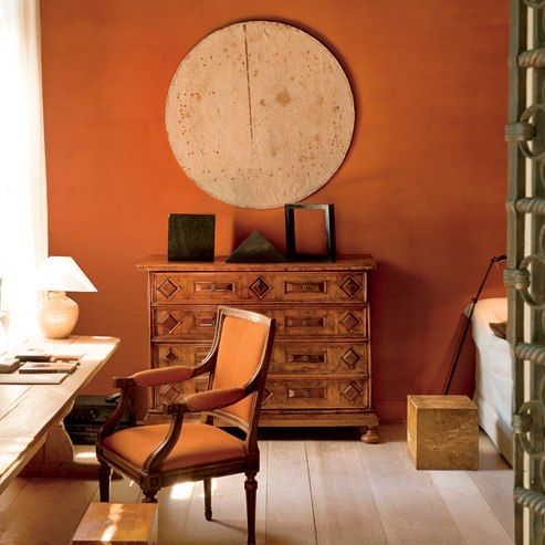 Axel vervoordt designs a contemporary residence in venice - Burnt orange paint for living room ...