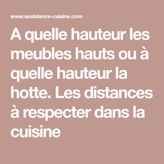 A Quelle Hauteur Les Meubles Hauts Ou A Quelle Hauteur La Hotte Les Distances A Respecter Dans La Cuisine Mobilier De Salon Cuisine Hotte