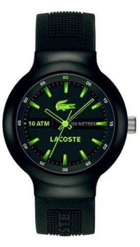 858302025f Lacoste Borneo Black Dial Black and Green Silicone Mens Watch ...