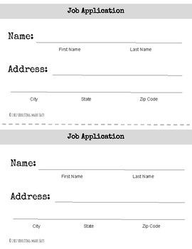 Freebie Differentiated Job Application Practice Forms For  School