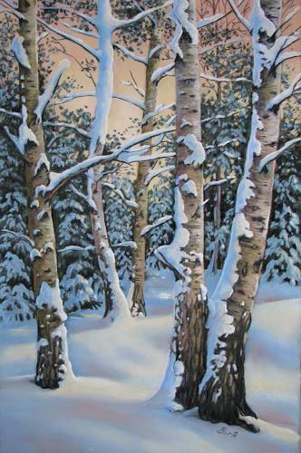 """Kerstin Birk, """"Verschneite Birken I"""" Mit einem Klick auf """"Als Kunstkarte versend…"""