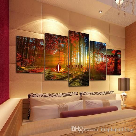 5 Panel Forest Painting Canvas Wall Art Picture Home Decoration Living Room  Canvas Print Modern Painting