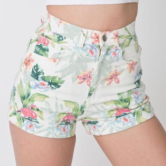 American Apparel high waisted shorts! These high waisted shorts are in their flamingo design! Perfect for summer! Hardly worn, waist size 26-27. American Apparel Shorts Jean Shorts