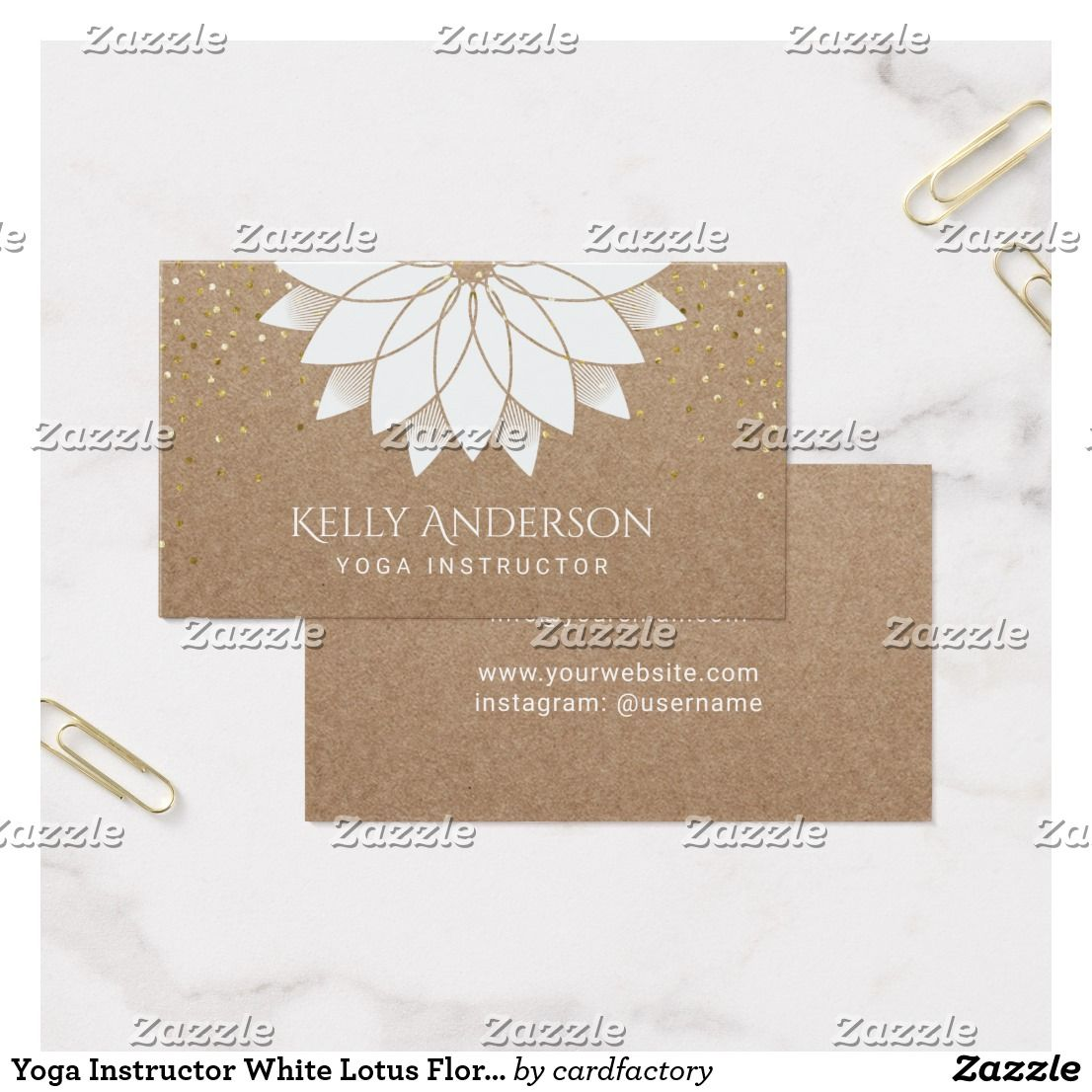 Yoga Instructor White Lotus Floral Rustic Kraft Business Card ...