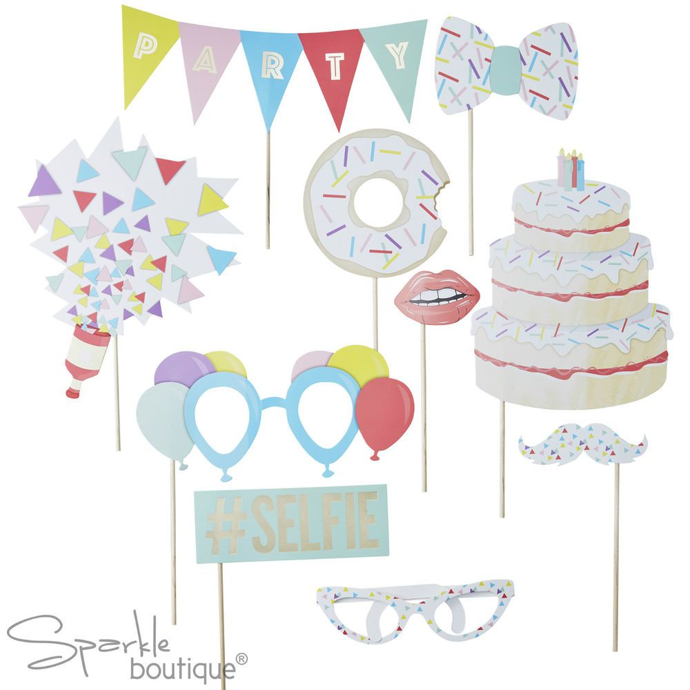 Ginger Ray Birthday Party Photo Booth 10 Props Selfie Picture Kit Stick Set Fun for sale online | eBay