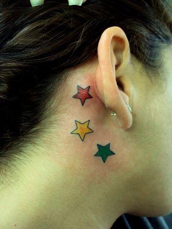 Tatuagem Estrelas Colorida Atras Da Orelha Tattoo Stars