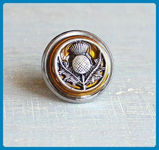 Yellow Scottish thistle tie tack / lapel pin  - Groom